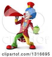 Clipart Of A 3d Colorful Clown Holding A Green Bell Pepper And Announcing To The Left With A Megaphone Royalty Free Illustration