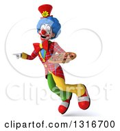 Clipart Of A 3d Colorful Clown Flying Pointing To The Left And Holding A Pizza Royalty Free Illustration