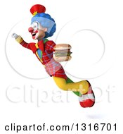Clipart Of A 3d Colorful Clown Flying Up To The Left And Holding A Double Cheeseburger Royalty Free Illustration