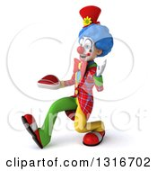 Clipart Of A 3d Colorful Clown Speed Walking To The Left Waving And Holding A Beef Steak Royalty Free Illustration