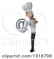 Clipart Of A 3d Full Length Young Black Male Chef Holding An Email Arobase At Symbol And Looking Around A Sign Royalty Free Illustration
