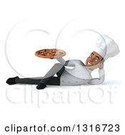 Clipart Of A 3d Young Black Male Chef Resting On His Side And Holding A Pizza Royalty Free Illustration
