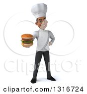 Clipart Of A 3d Young Black Male Chef Holding A Double Cheeseburger Royalty Free Illustration