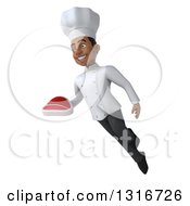 Clipart Of A 3d Young Black Male Chef Flying And Holding A Beef Steak Royalty Free Illustration