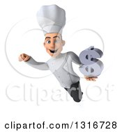 Clipart Of A 3d Young White Male Chef Flying With A Dollar Symbol Royalty Free Illustration