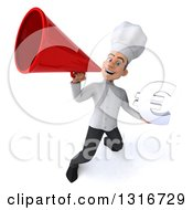 Clipart Of A 3d Young White Male Chef Holding A Euro Symbol And Announcing Upwards With A Megaphone Royalty Free Illustration