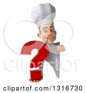 Clipart Of A 3d Young White Male Chef Holding A Question Mark Around A Sign Royalty Free Illustration