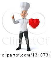 Clipart Of A 3d Young White Male Chef Holding Up A Finger And A Heart Royalty Free Illustration