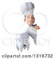 Clipart Of A 3d Young White Male Chef Holding A Tooth Around A Sign Royalty Free Illustration