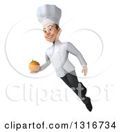 Clipart Of A 3d Young White Male Chef Flying With A Navel Orange Royalty Free Illustration