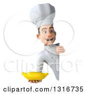 Clipart Of A 3d Young White Male Chef Holding A Banana Around A Sign Royalty Free Illustration