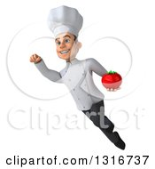 Clipart Of A 3d Young White Male Chef Flying With A Tomato Royalty Free Illustration