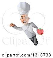 Clipart Of A 3d Young White Male Chef Flying With A Tomato 2 Royalty Free Illustration
