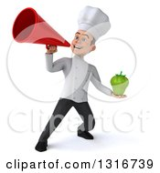 Clipart Of A 3d Young White Male Chef Holding A Green Bell Pepper And Using A Megaphone Royalty Free Illustration