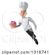 Clipart Of A 3d Young White Male Chef Flying And Holding A Pink Frosted Cupcake Royalty Free Illustration