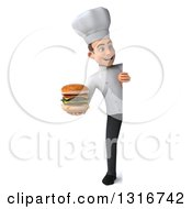 Clipart Of A 3d Full Length Young White Male Chef Holding A Double Cheeseburger Around A Sign Royalty Free Illustration