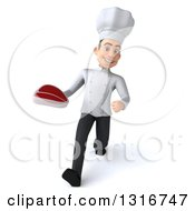 Clipart Of A 3d Young White Male Chef Speed Walking And Holding A Beef Steak Royalty Free Illustration