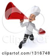 Clipart Of A 3d Young White Male Chef Holding A Beef Steak And Announcing Upwards With A Megaphone Royalty Free Illustration