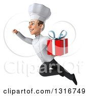 Clipart Of A 3d Young White Male Chef Flying To The Left And Holding A Gift Royalty Free Illustration