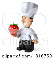 Clipart Of A 3d Short White Male Chef Facing Slightly Left And Holding A Strawberry Royalty Free Illustration