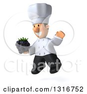 Clipart Of A 3d Short White Male Chef Facing Slightly Left Jumping And Holding A Blackberry Royalty Free Illustration