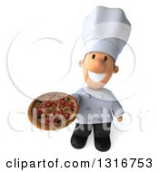 Clipart Of A 3d Short White Male Chef Holding Up A Pizza Royalty Free Illustration