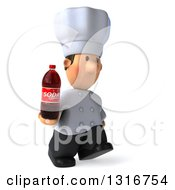 Clipart Of A 3d Short White Male Chef Walking To The Right With A Soda Bottle Royalty Free Illustration