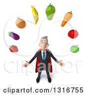 Clipart Of A 3d Happy Young White Super Businessman Looking Up And Juggling Produce Royalty Free Illustration