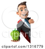 Clipart Of A 3d Happy Young White Super Businessman Holding A Green Bell Pepper Around A Sign Royalty Free Illustration