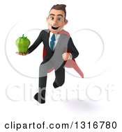 Clipart Of A 3d Happy Young White Super Businessman Sprinting And Holding A Green Bell Pepper Royalty Free Illustration