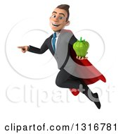 Clipart Of A 3d Happy Young White Super Businessman Flying Pointing And Holding A Green Bell Pepper Royalty Free Illustration