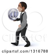 Clipart Of A 3d Happy Young Black Businessman Walking To The Left And Holding An Email Arobase At Symbol Royalty Free Illustration