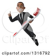 Clipart Of A 3d Happy Young Black Businessman Flying Holding Up A Finger And A Giant Toothbrush Royalty Free Illustration