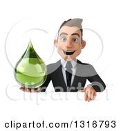 Clipart Of A 3d Happy Young White Businessman Holding A Green Medicine Tincture Droplet Over A Sign Royalty Free Illustration by Julos