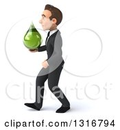 Clipart Of A 3d Happy Young White Businessman Walking To The Left And Holding A Green Medicine Tincture Droplet Royalty Free Illustration by Julos