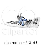 Blue Man Dancing And Walking On A Piano Keyboard Clipart Illustration
