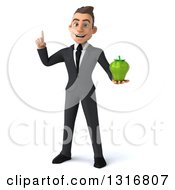 Clipart Of A 3d Happy Young White Businessman Holding Up A Finger And Green Bell Pepper Royalty Free Illustration
