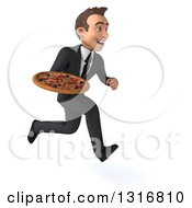 Clipart Of A 3d Happy Young White Businessman Sprinting To The Right And Holding A Pizza Royalty Free Illustration