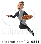 Clipart Of A 3d Happy Young White Businessman Flying Pointing And Holding A Pizza Royalty Free Illustration