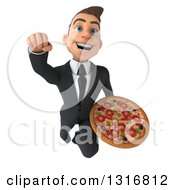 Clipart Of A 3d Happy Young White Businessman Flying And Holding A Pizza Royalty Free Illustration