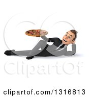 Clipart Of A 3d Happy Young White Businessman Resting On His Side And Holding A Pizza Royalty Free Illustration