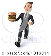 Clipart Of A 3d Happy Young White Businessman Speed Walking And Holding A Double Cheeseburger Royalty Free Illustration