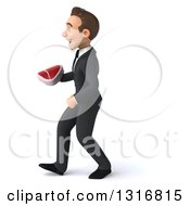 Clipart Of A 3d Happy Young White Businessman Walking To The Left And Holding A Beef Steak Royalty Free Illustration