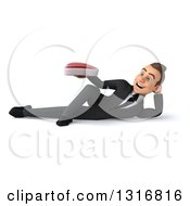 Clipart Of A 3d Happy Young White Businessman Resting On His Side And Holding A Beef Steak Royalty Free Illustration
