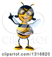 Clipart Of A 3d Bespectacled Female Bee Holding Up A Finger And Reading A Book Royalty Free Illustration
