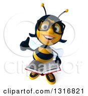 Clipart Of A 3d Bespectacled Female Bee Holding Up A Thumb And A Book Royalty Free Illustration