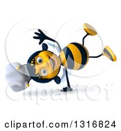 Clipart Of A 3d Female Chef Bee Cartwheeling Royalty Free Illustration