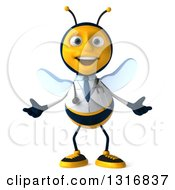 Clipart Of A 3d Happy Bee Doctor Welcoming Royalty Free Illustration by Julos