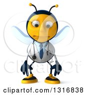 Clipart Of A 3d Happy Bee Doctor Pouting Royalty Free Illustration by Julos