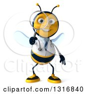 Clipart Of A 3d Happy Bee Doctor Searching With A Magnifying Glass Royalty Free Illustration by Julos